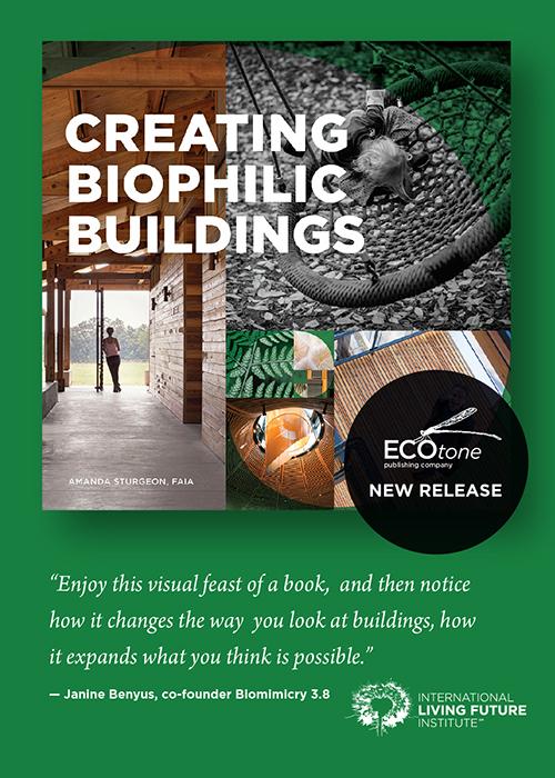 Creating Biophilic Buildings cover - biophilic design book by Amanda Sturgeon